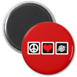 Peace love knit fridge magnet