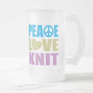 Peace Love Knit Frosted Glass Beer Mug