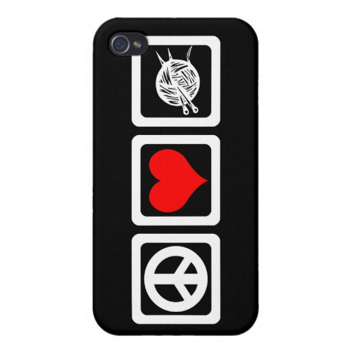 peace love knit iPhone 4 cases