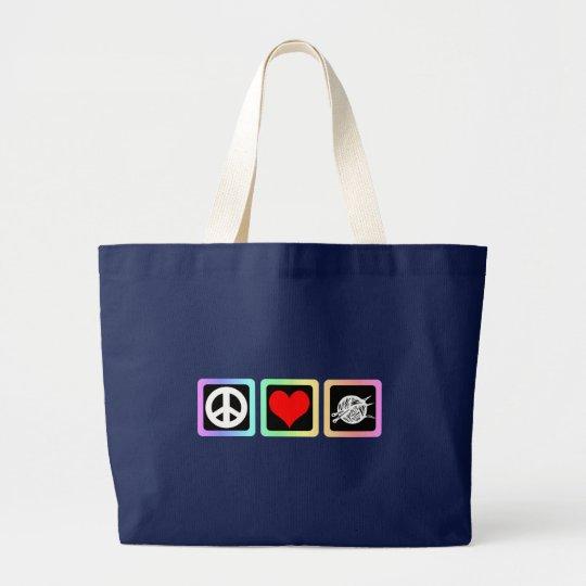 Peace love knit large tote bag
