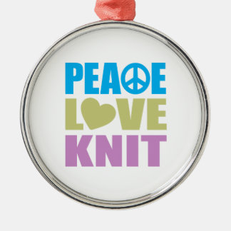 Peace Love Knit Metal Ornament