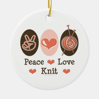 Peace Love Knit Ornament