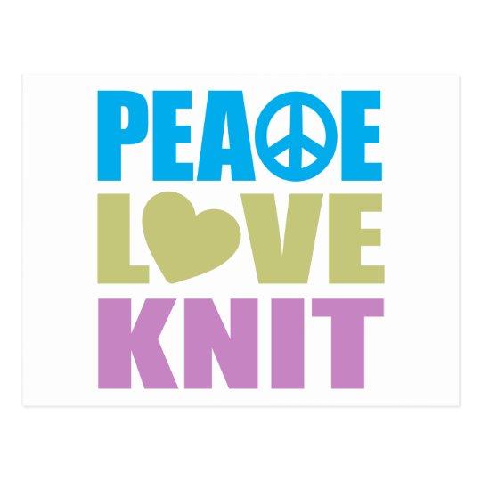 Peace Love Knit Postcard