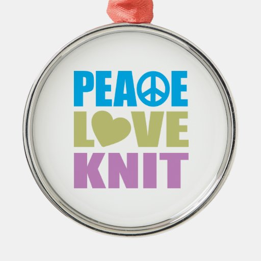 Peace Love Knit Round Metal Christmas Ornament