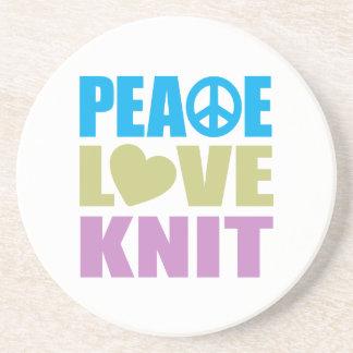 Peace Love Knit Sandstone Coaster