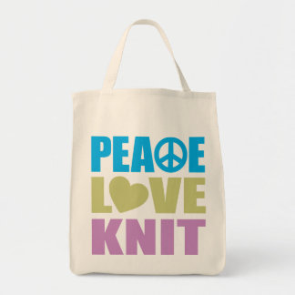 Peace Love Knit Tote Bag