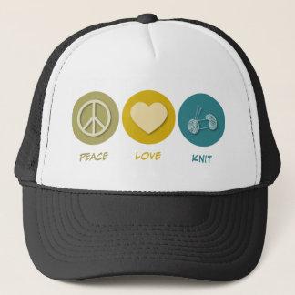 Peace Love Knit Trucker Hat