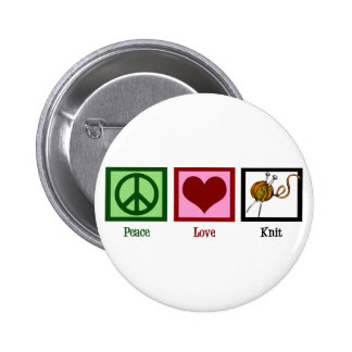 Peace Love & Knitting 2 Inch Round Button