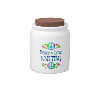 Peace Love Knitting Candy Jars