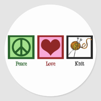 Peace Love & Knitting Classic Round Sticker