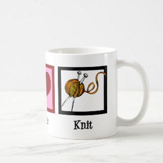 Peace Love & Knitting Coffee Mug