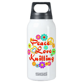 PEACE LOVE Knitting Insulated Water Bottle