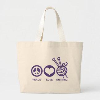Peace Love Knitting Large Tote Bag