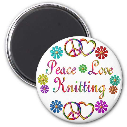 PEACE LOVE KNITTING MAGNET