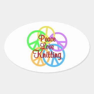 Peace Love Knitting Oval Sticker