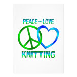 Peace Love Knitting Personalized Invitation
