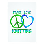 Peace Love Knitting Personalized Invitation