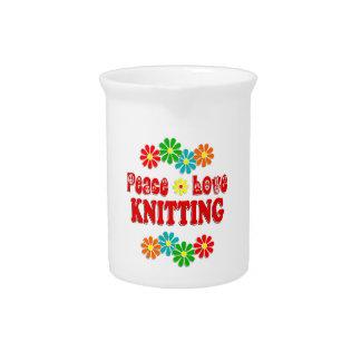 Peace Love Knitting Pitcher