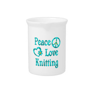 Peace Love Knitting Drink Pitcher