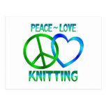 Peace Love KNITTING Post Card