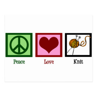 Peace Love & Knitting Postcard