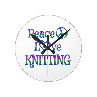 Peace Love Knitting Round Clock