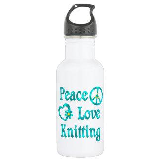Peace Love Knitting Water Bottle