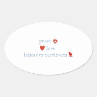 Peace Love Labrador Retrievers Oval Sticker