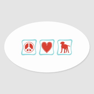 Peace Love Labrador Retrievers Squares Oval Sticker