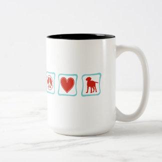 Peace Love Labrador Retrievers Squares Two-Tone Coffee Mug