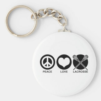 Peace Love Lacrosse Basic Round Button Keychain