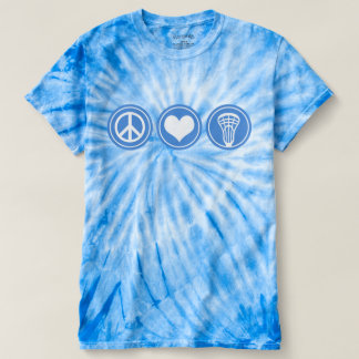 Peace Love Lacrosse Blue Tie Dye shirt