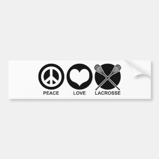 Peace Love Lacrosse Bumper Sticker