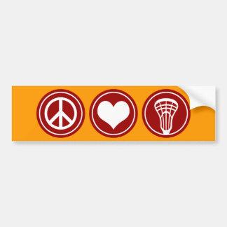 Peace Love Lacrosse Bumper Sticker Car Bumper Sticker