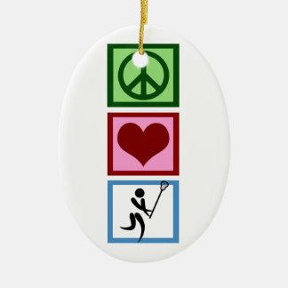 Peace Love Lacrosse Ceramic Ornament
