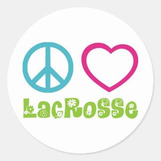 Peace Love Lacrosse Classic Round Sticker