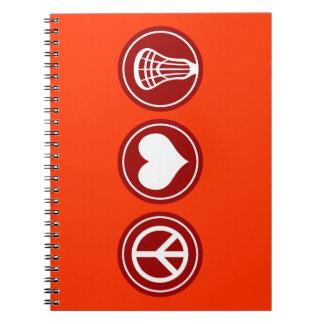 Peace Love Lacrosse design Notebook