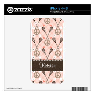 Peace Love Lacrosse iPhone 4 / 4s Skin iPhone 4S Skins