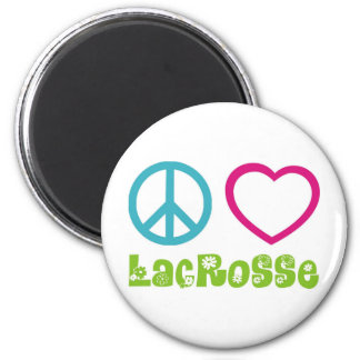 Peace Love Lacrosse 2 Inch Round Magnet