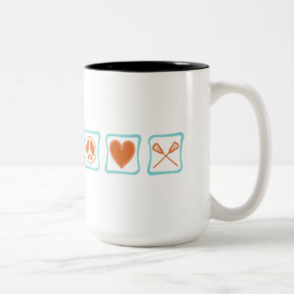 Peace Love Lacrosse Squares Two-Tone Coffee Mug