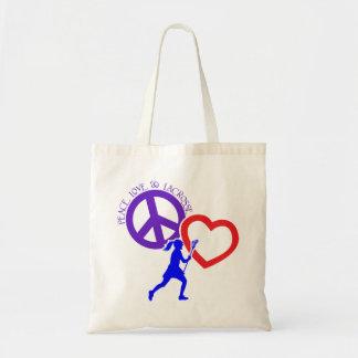 PEACE-LOVE-LACROSSE TOTE BAG