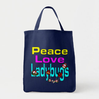 Peace Love Ladybugs Grocery Tote Bag