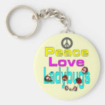 Peace Love Ladybugs Basic Round Button Keychain
