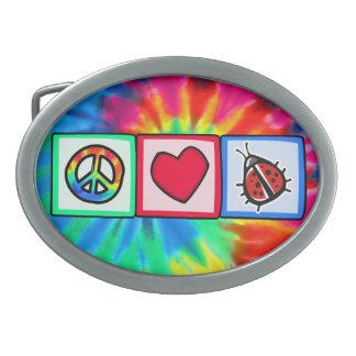 Peace, Love, Ladybugs Oval Belt Buckles