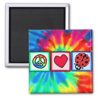 Peace, Love, Ladybugs 2 Inch Square Magnet