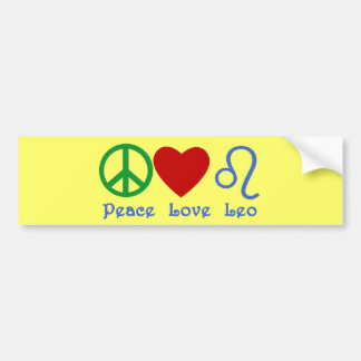 Peace Love Leo Astrological Design Bumper Sticker