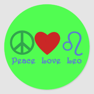 Peace Love Leo Astrological Design Classic Round Sticker