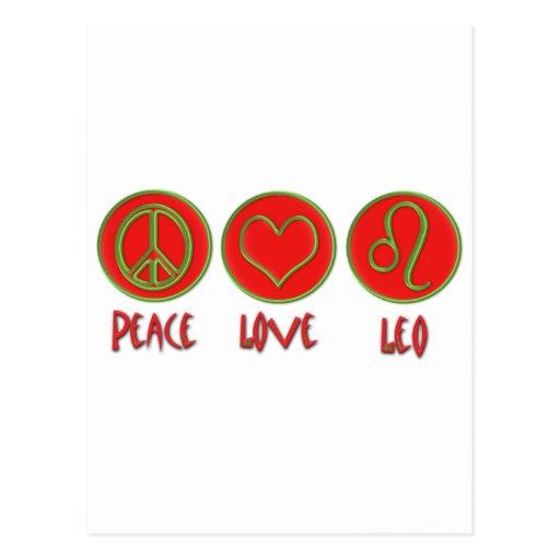 Peace Love Leo Postcard