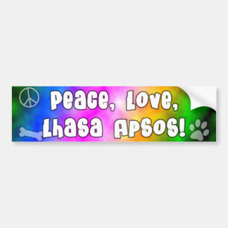 Peace Love Lhasa Apsos Bumper Sticker