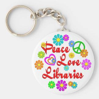 Peace Love Libraries Key Chain